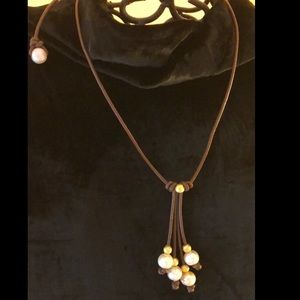 Jewelry - Genuine pearl & golden bead necklace.